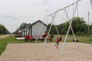 Benches and swings